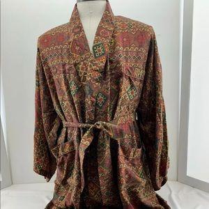 Vinatge 90s Addiction 100% Silk Smoking Robe Aztec